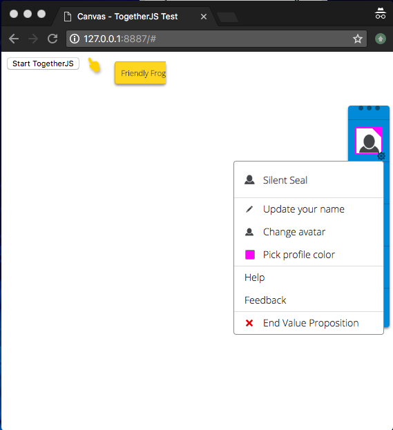 TogetherJS - User settings